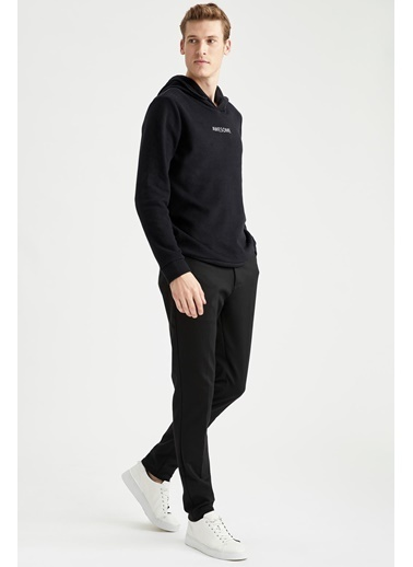 DeFacto Awesome Baskılı Regular Fit Kapüşonlu Sweatshirt Siyah